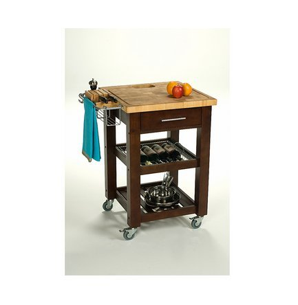 Beautiful Wood And Metal Espresso Finish Pro Chef Kitchen Work Station