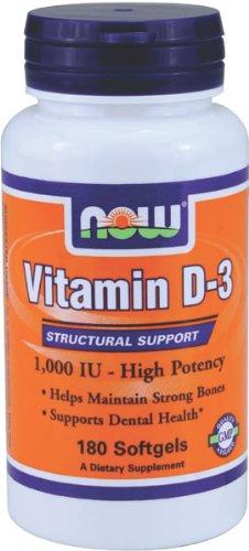 NOW VITAMIN D-3 1,000 IU -High Potency Natural Cholecalciferol - softgels