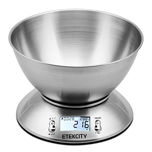 Etekcity 11lb/5kg Stainless Steel Digital Kitchen Food Scale, with Detachable Mixing Bowl, Backlight LCD Display and Kitchen Timer Alarm, Silver
