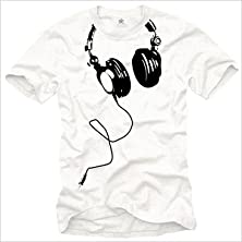 buy Makaya Men'S Music T-Shirt Dj Headphones White Size L