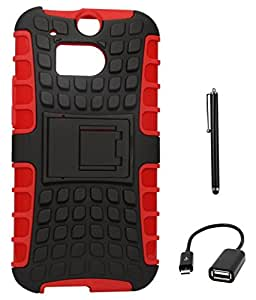 DMG Rubberized Hard Back Kickstand Case for HTC One M8 (Red-Black) + USB OTG Cable + Stylus