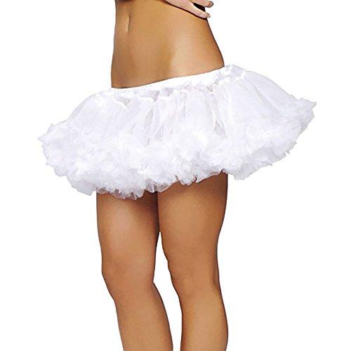 Petticoat Layered Fluffy Tutu WHITE Dance Rave Costume Dress Formal Under Skirt