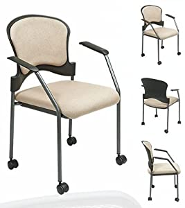 Titanium Finish Stacking Visitors Chair with Arms and Casters, FreeFlex Fabric Seat Finish: Ember FreeFlex