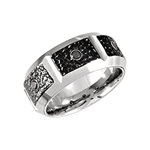 Cobalt 9mm Black Diamond & Black PVD Design Band 11.5