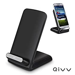 QIVV 3 Coils Desktop Qi Wireless Charger Charging pad stand for Samsung S6 / S6 Edge / Edge+, Note 5, Nexus 4 / 5 / 6 / 7, Nokia Lumia 920, LG Optimus Vu2, HTC 8X / Droid DNA and All Qi-Enabled Devices (Black)