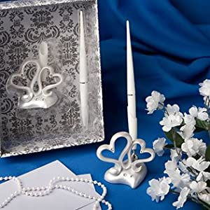 Interlocking hearts design wedding pen set, 1 piece