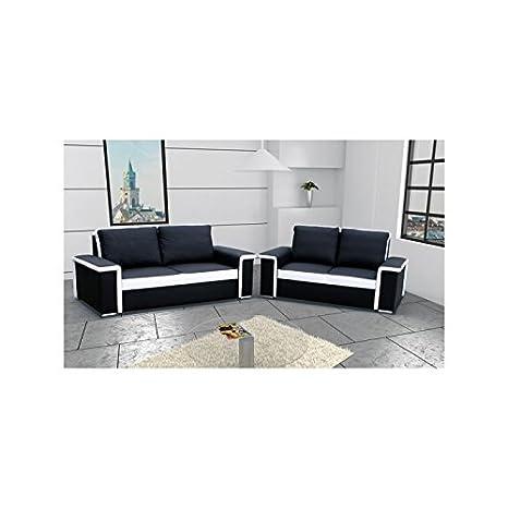 Canapé droit ensemble 3 et 2 places BILBAO noir et blanc pvc