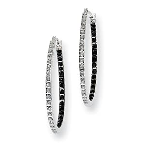 14k White Gold Diamond Fascination B & W Dia. Round Hinged Hoop Earrings