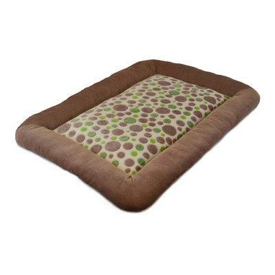 Precision Pet Low Bumper Corduroy Bed, Size 4000, Green Spot Plush Tan