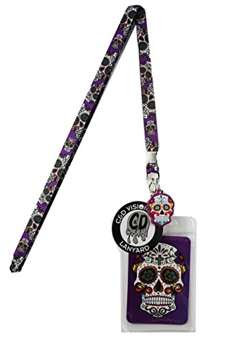 Lanyard with Charm Pink Sugar Skulls Skinny Lanyard with Rubber Charm