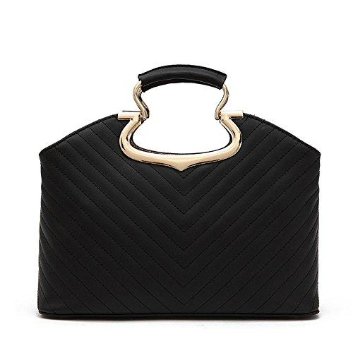 Fashion Pu Leather Clutch Cross-Body Shoulder Handbag 03558 (Black)