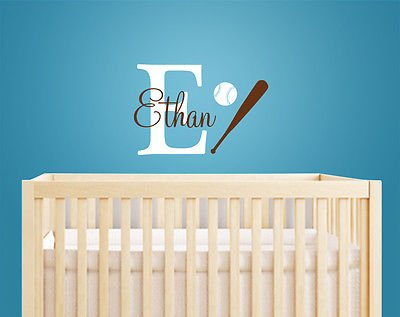 American Baseball Style Baby Boy Name With Initial Decal Sports Decor - Am037