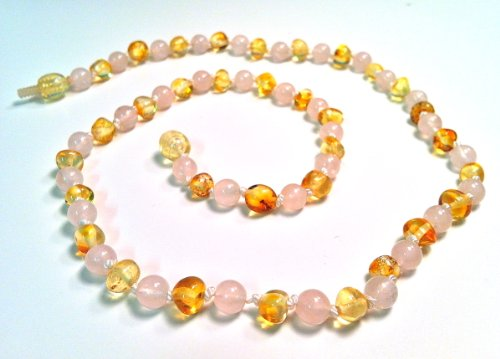 The Art Of Cure Baltic Amber Baby Teething Necklace - Rose Quartz & Lemon Amber