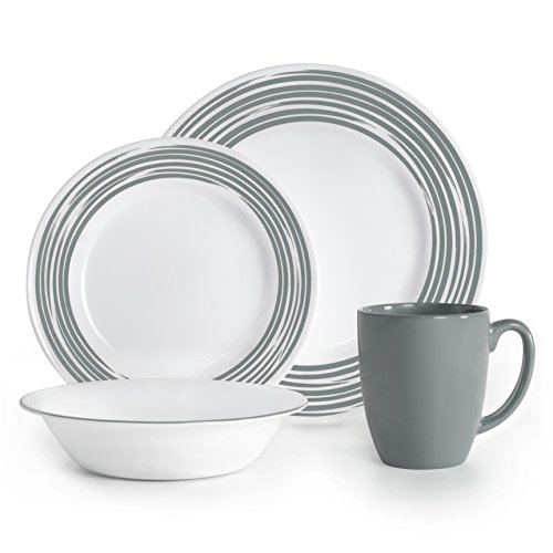 Corelle Boutique Brushed 16-Pc Dinnerware Set, Silver /w 3 Bonus Clips (Corelle Dinnerware Set Silver compare prices)