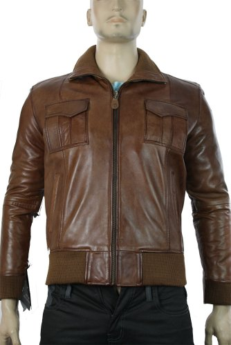 Mens Real Leather Jacket / Smart Casual / Bomber Tan Brown / Fitted