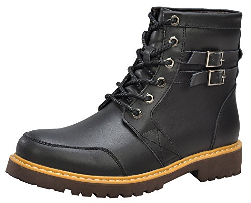 Serene Mens New Style Leather Double Buckle Soft Toe Lace-up Padded Western Low-heel Hiking Boots(11.5 D(M)US, 3180Black)