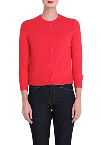 Cashmere Bracelet Sleeve Cardigan in Blush Red