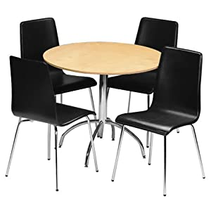 dining table and chairs set 4 black faux leather chairs