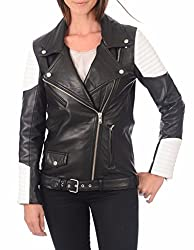 Syedna Black And White Leather Women Biker Jacket