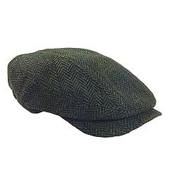 Green Herringbone Irish Tweed Cap by Mucros of Killarney
