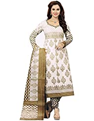 Ishin French Crepe Off White & Mehendi Printed Dress Material