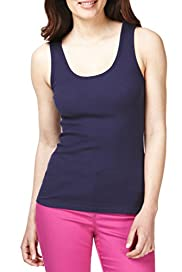 M&S Collection Pure Cotton Scoop Neck Vest Top with StayNEW [T41-5000A-S]