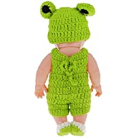 "Magideal 11"" Lifelike Baby Dolls Silicone Vinyl Soft Newborn Doll In Green Knit Suit"