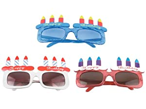 Present Time Silly Happy Birthday Glasses, Assorted Colors, Blue/Red/Pink/White