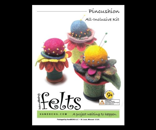 Handbehg Felts Flower Pincushion Kit 9+ Gift Idea Felt Balls Spool