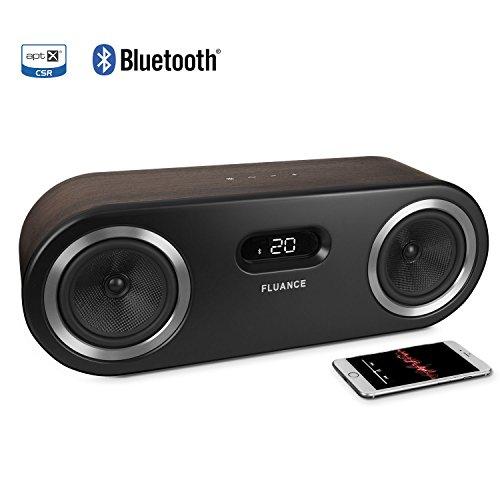 Fluance Fi50 Two-Way High Performance Wireless Bluetooth Premium Wood Speaker System with aptX Enhanced Audio (Natural Walnut)