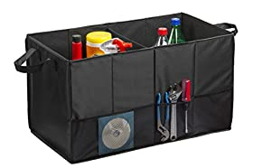 """#1 Best Quality Trunk Organizer - Lebogner Multipurpose Collapsible Folding Flat Trunk Organizer Use for Car, SUV, and Truck, Sturdy and Flexible, Cargo Compartment, 23.5"""" x 13"""" x 13"""", Black - 100% Satisfaction Money Back Guarantee"""