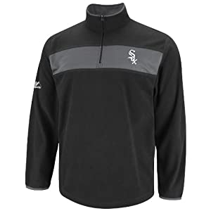 MLB Mens Chicago White Sox Checked Swing Black/Storm Gray Long Sleeve 1/4 Zip Micr Chlr Fleece Po By Majestic (Black/Storm Gray, Medium)