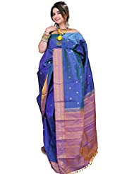 Exotic India Brilliant-Blue Kanjivaram Sari With Woven Flowers In Golden - Blue