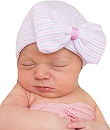 Melondiipty\'s Pink and Purple Striped Hospital Hat with Pink Ribbon Center