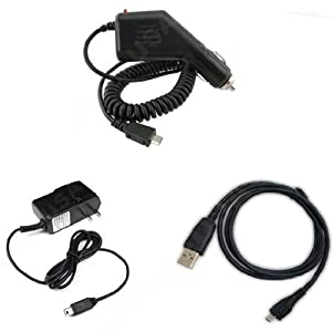 BlackBerry Torch 9800 Combo Rapid Car Charger + Home Wall Charger + USB Data Charge Sync Cable for BlackBerry Torch 9800
