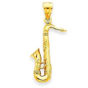 14K Solid Polished 3-Dimensional Saxophone Charm