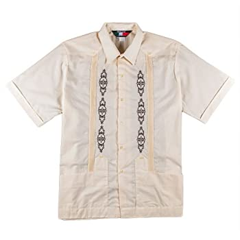 Men's Guayabera Poly-Cotton , size small & light beige.
