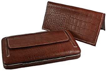 Faux Leather Moc Croc Womens Framed Flat Wallet w/ Checkbook Cover (Brown)