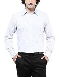 American Crew Men's Cotton Checks Shirt With Pocket (White & Grey)