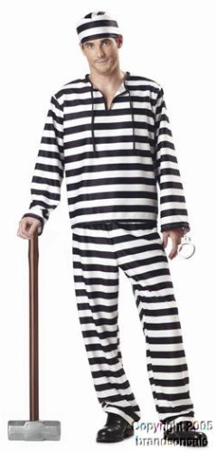 Men's Striped Convict Halloween Costume
