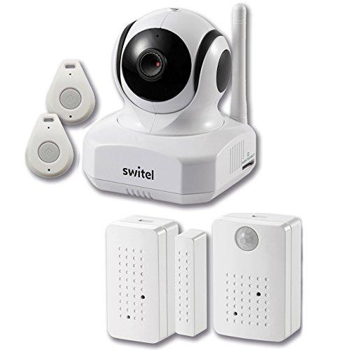 Switel Videoüberwachung mit Hausalarmsensoren Tür Fenster Bewegung IP Kamera HD 720P Tag / Nacht Wireless Smart Home Security Kit , 9 Stück, , Weiß, BSW220