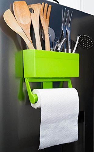 Kitchen Buddy Magnetic Paper Towel Holder for Refrigerator with Multipurpose Storage Rack Organizer (Lime Green) (Magnetic Shelf For Refrigerator compare prices)