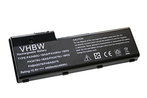 vhbw Li-Ion Batterie 4400mAh (10.8V) pour ordinateur portable, Notebook Toshiba Satellite P105-S6014, P105-S6022, P105-S6024 comme PABAS078.
