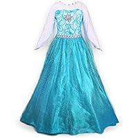 Petites Filles Princesse Elsa Manches Longues Robe Costume (4-5 ans, bleu)