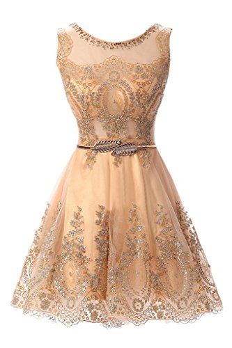 MILANO BRIDE 2016 Cheap Cocktail Dress Short Prom Party Dress Applique Belt-14-Gold