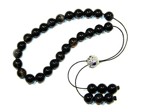 A2-0084 - Greek Style Loose Strung Prayer Beads Worry Beads Black Agate Gemstone Beads Handmade by Jeannieparnell