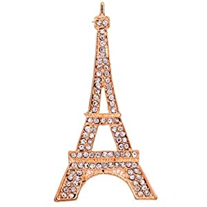 Yazilind Jewellery Rose Gold Plated Glaring Crystal Eiffel Tower Brooches and Pins Vintage