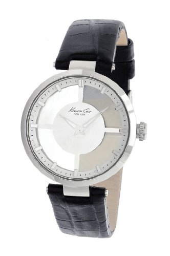 Kenneth Cole Women's Quartz Watch with White Dial Analogue Display and Black Leather Strap KC2649