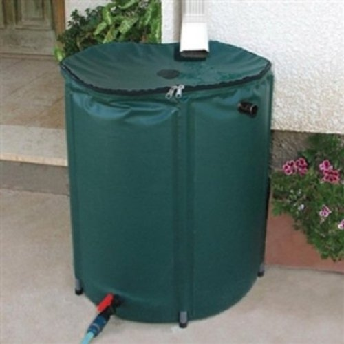 Collapsible 50-Gallon Rain Barrel with Zippered Top in Green Color (Collapsible Rain Barrel compare prices)