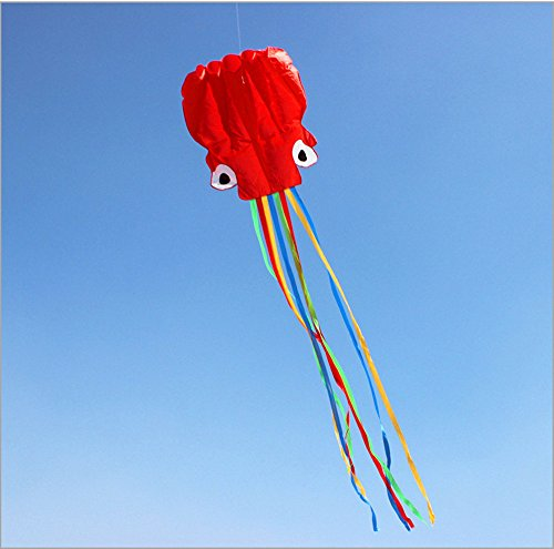 KENGEL® Beautiful Large Easy Flyer Kite For Kids - RED Software Octopus- Its BIG! 28 Inches Wide Wi